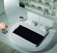 Contemporary_White_Leather_Headboard_Round_Bed