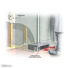 """Solution 1: Electric Toe-Kick Heaters - These small heaters with blowers fit into the hollow space under kitchen cabinets, stair treads and vanities. This can be a good solution for a bathroom or kitchen where chilly feet are the main complaint. You can install a toe-kick heater (also called a """"kick space heater"""") under an existing cabinet by prying off the toe-kick.To power the heater, you'll need to run a dedicated circuit from your main electrical panel. You can control most units using…"""