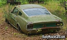 1967 fastback mustang in junkyard - Rusty muscle car photos and project muscle cars for sale at RustyMuscleCars.com