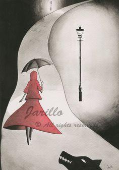 Caperucita Roja  Lámina Impresa  Tinta y por JarilloArtCraft