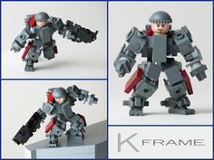 "The latest entry from the Dawn Forge engineers, the K frame is built to go where big assed mechs just don't fit. Called the ""K frame"" because the DF brass felt the acronym ""KACA"" did not adequately represent the image they were trying to portray. This was built out of frustration regarding the ridiculously limited range of motion inherent to Lego minifigs. I wanted something that was fig scale, poseable, but still had the bulky, armored, DF look."