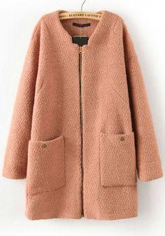 Camel Zipper Round Neck Thick Dacron Wool Coat