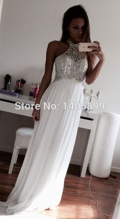 New Arrival Halter Shiny Diamonds Beads Pleats A Line Beaded Sexy White Prom Dress 2015-in Prom Dresses from Weddings & Events on Aliexpress.com   Alibaba Group