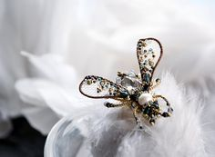 Small Fly pin Fly jewelry Statement pin Bee by PurePearlBoutique