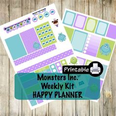 PRINTABLE Happy Planner Monsters Inc. Weekly Kit- Sully Boo Mike Checklist by WhimsicalWende on Etsy