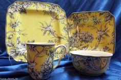 222 FIFTH ADELAIDE YELLOW ~Toile Birds ~ 16 pc Dinner Set ~ SERVICE FOR 4 NEW! #222Fifth & 222 fifth adelaide yellow french toile bird 16 pc dinnerware set ...