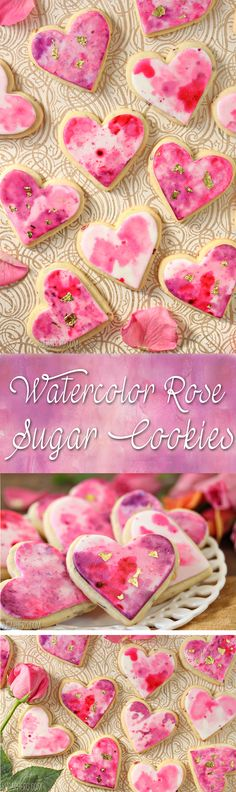 Watercolor Rose Sugar Cookies - gorgeous watercolor cookies with bits of rose petals baked right into the dough! | From SugarHero.com