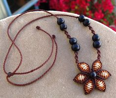 Macrame CHOKER CHOCOLATE FLOWER fiber necklace with by ARUMIdesign, €20.00