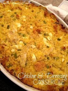 Chicken and Dressing Casserole _ Stewed chicken and Southern cornbread dressing in a casserole (substitute leftover turkey too).