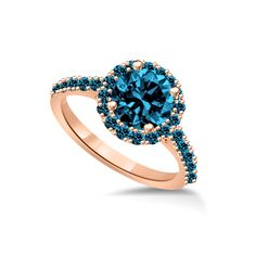 Blue diamond engagement ring in rose gold