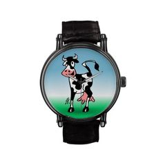 Cheerful cow in a meadow wrist watches #Zazzle #Catdvibes #Tekenaartje