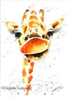 Gorgeous George the giraffe giraffeart animalart by Delphylou