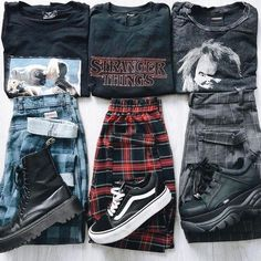 streetwear grunge Left, right or middle Vintage Outfits, Retro Outfits, Vintage Fashion, Vintage Style, Vintage Rock, Retro Style, Edgy Outfits, Mode Outfits, Girl Outfits