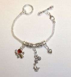 "This is the perfect, fashionable spirit item for any outfit! We are all loving these silver ""rope"" cheerleader charm bracelets from The Cheerleading Shop on Etsy! Check out The Cheerleading Shop for TONS of cheerleading jewelry at great prices, special orders and discounted group orders for your team!"
