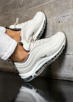 Nike Air Max 97 - Triple White Full Collection Available On Our Site : -> . Sneaker Outfits, Nike Outfits, Sneaker Heels, Sneakers Outfit Nike, Adidas Shoes, Party Outfits, Sneakers Mode, Sneakers Fashion, Fashion Shoes