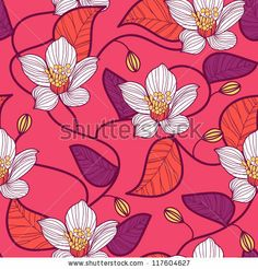 Seamless pink vector texture with white flowers by Lola Tsvetaeva, via Shutterstock