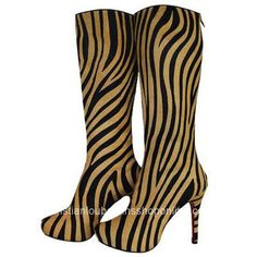 "*.Features: Signature red sole, back zipper, black/gold zebra print haircalf, hidden platform *.Material: Suede *.Heel Height: 4 7/10"" *.Place of origin: Made in Italy *.Package: Original binding CL shoe box"