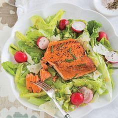 Grilled Salmon Caesar Salad   MyRecipes.com