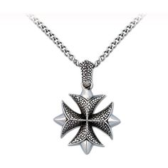 """Unisex Iron Cross Pendant in Stainless Steel 24"""" ($59) ❤ liked on Polyvore featuring jewelry, pendants, necklaces, crosses, cross charms, cross pendant, polish jewelry, kohl jewelry and black stainless steel jewelry"""