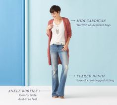 SF: I like the cardigan's shape & drape. The color is nice, much better than grey or black!