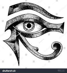 eye of horus dot work vector file Anubis Tattoo, Egyptian Symbols, Egyptian Art, Big Cover Up Tattoos, Eye Of Ra Tattoo, Egyptian Eye Tattoos, Egypt Concept Art, Aztec Tattoo Designs, Pyramid Eye