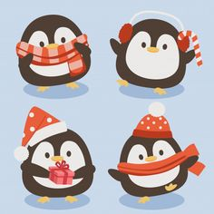 The collection of cute penguin in christmas theme. Cute Penguins, Christmas Illustration, Free Baby Stuff, Christmas Themes, Art Inspo, Adobe Illustrator, Needlework, Vector Free, Clip Art