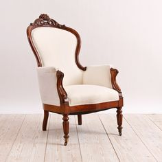 Louis Philippe Fauteuil in Mahogany, France, c. Old Chairs, Dining Chairs, Antique Armchairs, Victorian Chair, Love Chair, Mid Century Armchair, Antiques For Sale, Wingback Chair, Antique Furniture