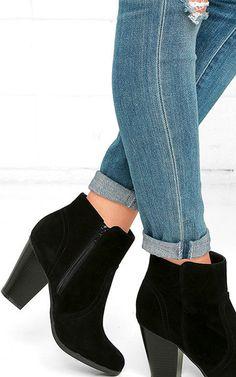 Cute Aubrey Black Suede Ankle Booties via @bestchicfashion