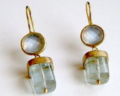 Rose cut blue moonstone set in 18 carat yellow gold with aquamarine 18 carat yellow gold drop.