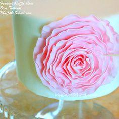 Elegant Fondant Ruffle Rose Cake Decorating Tutorial by MyCakeSchool.com! Free Tutorial!