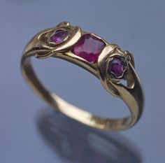 Liberty & Co. Ltd - Rare Liberty & Co Art Nouveau Ring  Gold Ruby British, 1900 Ring Case Liberty Jewellery, Archibald Knox, Art Nouveau Ring, Jewellery Sketches, Liberty Of London, Heart Ring, Gold Rings, Arts And Crafts, British