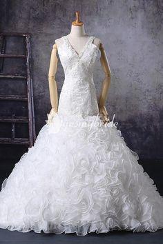 Sleeveless Beaded Embroidered V-neck Trumpet Vintage Bridal Gown. #weddingdress #gown #womenfashions #fashiondress #fashion #dress