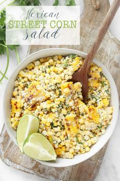 This Mexican Street corn salad is smoky, spicy, tangy and simple to throw together. A fun twist on the Mexican street vendor version of corn on the cob! via Sissom Mexican Appetizers, Mexican Food Recipes, Whole Food Recipes, Cooking Recipes, Healthy Recipes, Drink Recipes, Easy Recipes, Corn Salad Recipes, Corn Salads