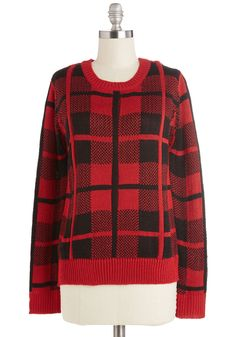 Admiring the View Sweater. You open the double doors to a stunning scenic view and, wearing this plaid sweater, take a seat on the balcony to absorb the day's beauty. #red #modcloth