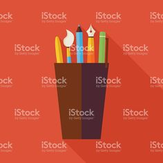 Flat Cup with Office Writing Supplies Tools Illustration with Shadow royalty-free stock vector art Free Vector Art, Image Now, Royalty, Tools, Flat, Writing, Illustration, Royals, Instruments