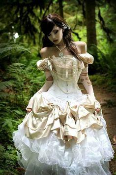 vestido de boda del steampunk del hombro fuera