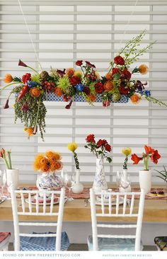 hanging flower basket - adds color and fun without taking up space on the table!!