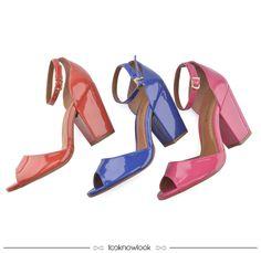 Sandália Color nas cores vermelha, azul bic e pink. #sandália #color #salto #calçados #looknowlook