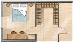 Su tre lati. Calcolando una profondità indicativa dell'attrezzatura di 55-60 cm e 120 cm per muoversi agevolmente in due mantenendo gli spazi ben divisi, la cabina deve avere come minimo i tre lati lunghi 240 cm. Small Room Bedroom, Closet Bedroom, Home Bedroom, Closet Behind Bed, Walk In Closet, Dream Home Design, House Design, Bedroom Drawing, Closet Vanity