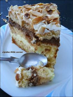 Elpida's Little Corner ! Greek Sweets, Greek Desserts, Greek Recipes, Just Desserts, Delicious Desserts, Greek Cake, Low Calorie Cake, Greek Pastries, Cake Recipes