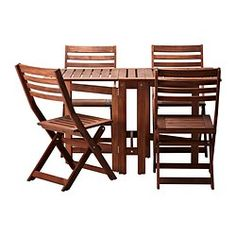 ÄPPLARÖ Table+4 chaises pliantes, extérieur, teinté brun brun - IKEA