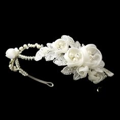 Opentip.com: Elegance by Carbonneau HP-9624-S-Ivory Ivory Floral Side Accented Bridal Headband in Silver 9624