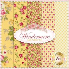 Windermere 5 FQ Set - Soft Yellow Set by Brenda Riddle for Moda Fabrics: Windermere is a collection by Brenda Riddle for Moda Fabrics. 100% Cotton. This set contains 5 fat quarters, each measuring approximately 18