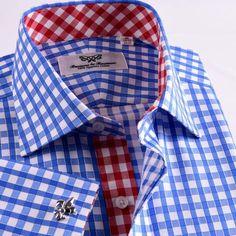 Business Shirts, Business Dresses, Men's Fashion, Fashion Outfits, Fashion Design, Formal Shirts For Men, Cutaway Collar, Create Shirts, Blue Check