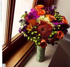orange, green, purple wedding bouquet - Google Search