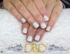 www.DivineByDesignBeauty.com. CND Shellac White Nails with Swarovski Crystals. xDBDx