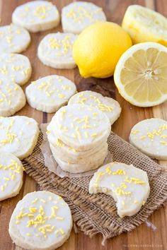 Lemon Shortbread Cookies - Rich, buttery cookies with a hint of lemon, smothered in a sweet and tart lemon icing.