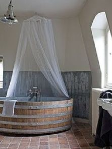 wine barrel as bath