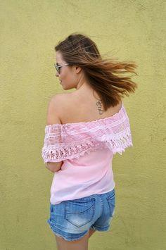 off the shoulder pink top and lace details   Shenanigan-ska