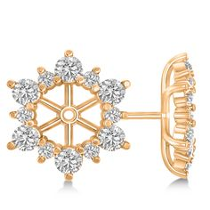 Diamond Flower Halo Earring Jackets 14k Rose Gold (2.20ct) - Allurez.com